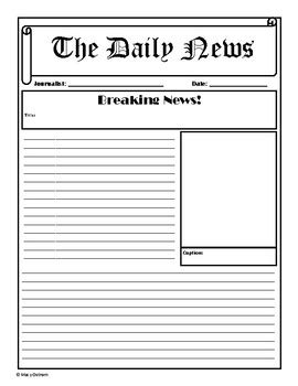 Newspaper Template By Teaching 4th Grade With Aloha Tpt Newspaper Template To Print