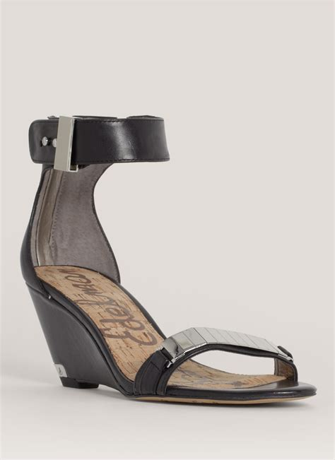 Wedges Sendal Marni Mirror Quality sam edelman mirror detail front leather wedge sandals in black lyst