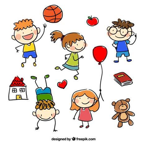 imagenes vectores infantiles dibujado a mano dibujos animados infantiles vector gratis
