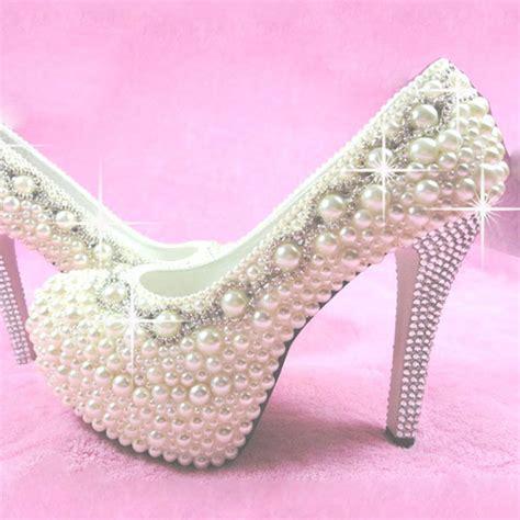 Wedding Shoes 14 new platform bottom high heels white pearl rhinestones wedding shoes gorgeous 14cm