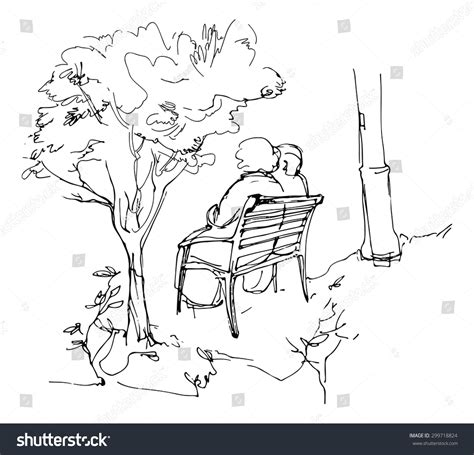 how to draw people sitting on a bench sketch two person sitting on bench stock vector 299718824
