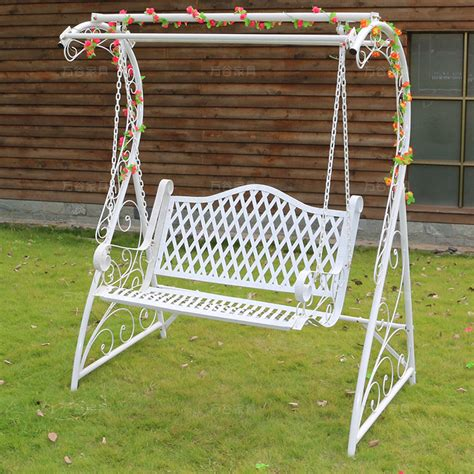 iron swings outdoor white wrought iron double swing outdoor garden patio