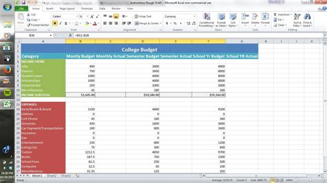 how to create a college style budget using excel all