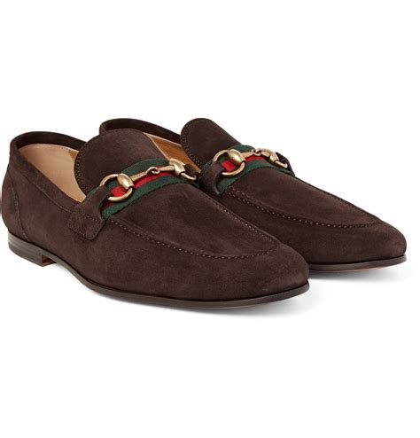suede gucci loafers gucci horsebit webbing trimmed suede loafers in brown for