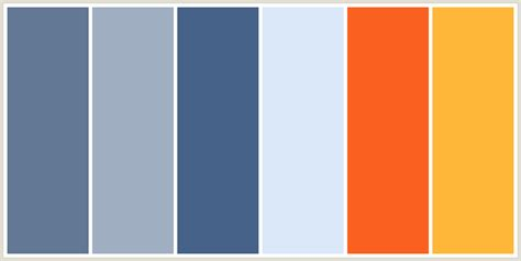 blue orange color scheme colorcombo138 with hex colors 627894 a0aec1 466289 dbe8f9 fa6121 ffb739