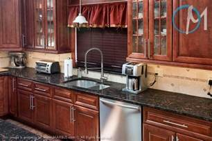 Black Brown Kitchen Cabinets Grey Granite Countertops With Cinnamon Cherry Cabinets Brown Granite Color Selection For