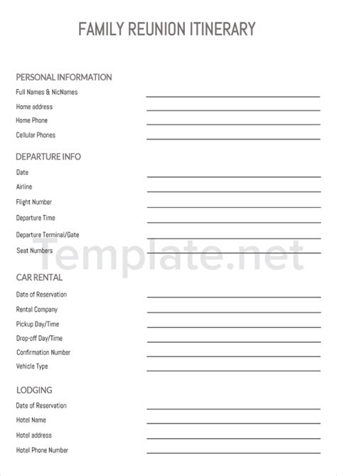 free family reunion planner templates 14 itinerary templates free premium templates