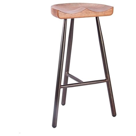 buy bar stool buy vintage brown 3 leg metal bar stool with solid dark