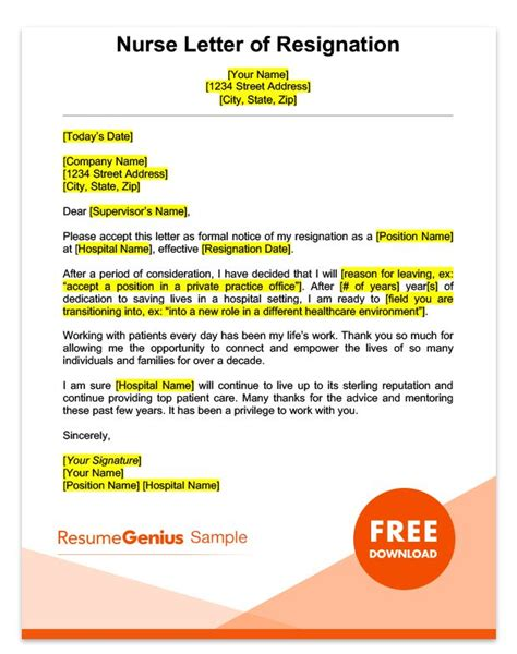 resignation letter for a nurse sample just letter templates