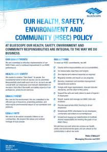 Company Safety Policy Template by Health Safety Bluescope Corporate