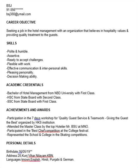 resume format for hotel management fresher 40 fresher resume exles
