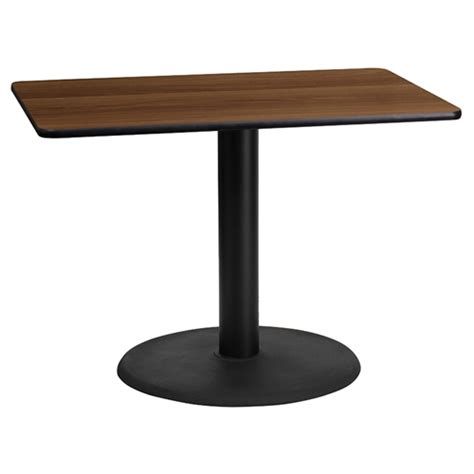 Rectangle Dining Table With Pedestal Base 24 Quot X 42 Quot Rectangular Dining Table Walnut Black 24 Quot Pedestal Base Dcg Stores