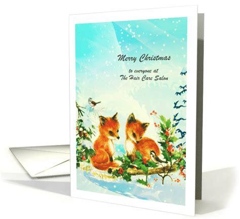 christmas greeting hair stylists hairdresser stylist foxes birds card 722347