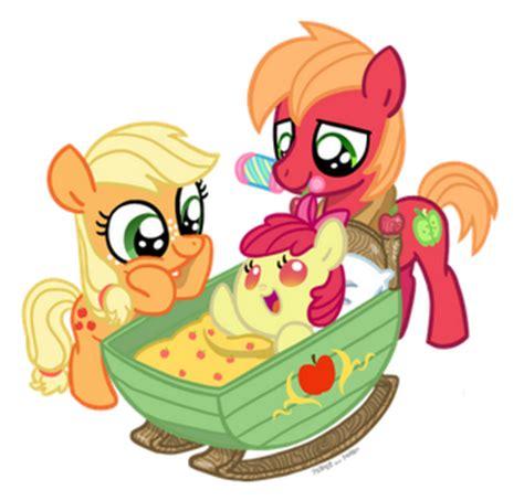 image applejack and big macintosh look at baby apple