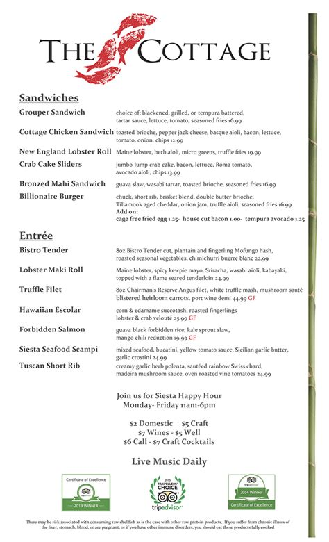 Cottage Lunch Menu The Cottage Brunch Menu 28 Images Cozy Cottage Menu