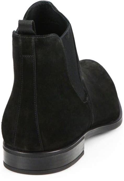 prada chelsea boots mens prada suede chelsea boots in black for lyst