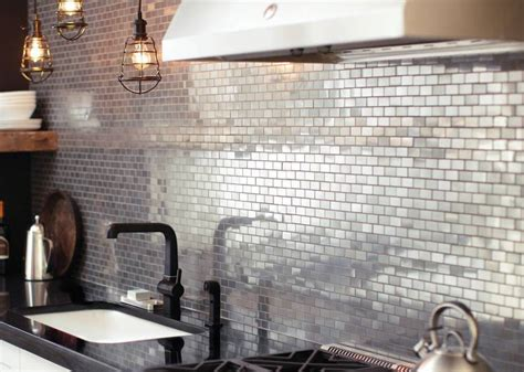 metal backsplash for kitchen metal tiles backsplash tile design ideas