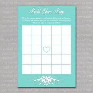 bridal shower bingo card blue with white
