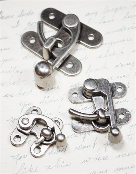 swing clasp lot of 3 swing clasps different sizes of antiqued silver