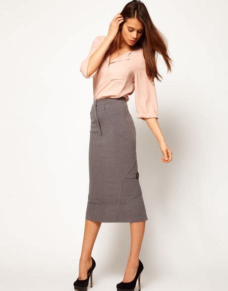 asos collection midi pencil skirt with buckles in gray