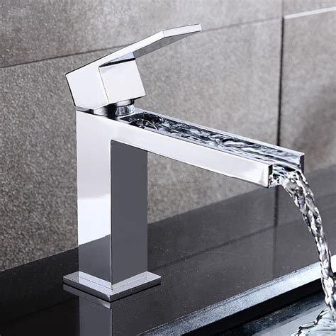 Modern Bathroom Sink Faucets by Fiego Modern Chrome Waterfall Single Faucet For