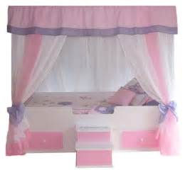 Girls Pink Canopy by Butterfly Twin Canopy Bed With Bedding Princess Bed