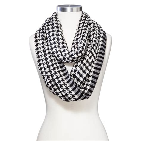 black pattern scarf women s houndstooth pattern infinity scarf black white