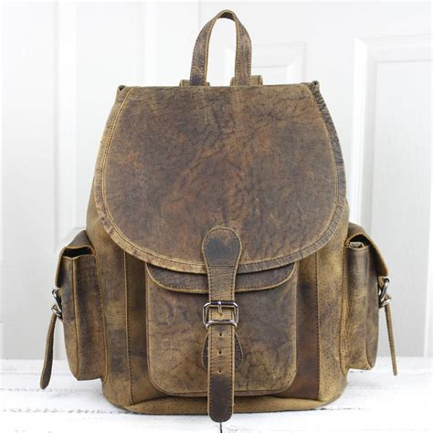 rucksack style vintage style large leather backpack by scaramanga