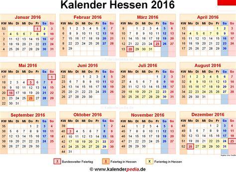 Kalender 2016 Mit Kalender 2016 Hessen Ferien Feiertage Word Vorlagen