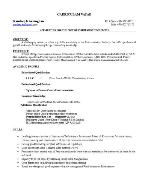 resume format for instrument technician resume instrument technician resume ideas