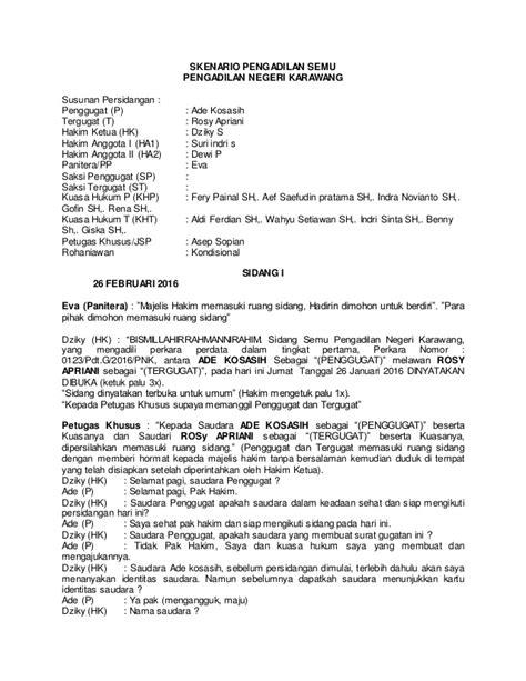 Contoh Surat Gugatan Cerai Dari Advokat