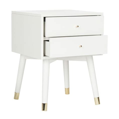 White And Gold Nightstand Fox6234b Nightstands Furniture By Safavieh