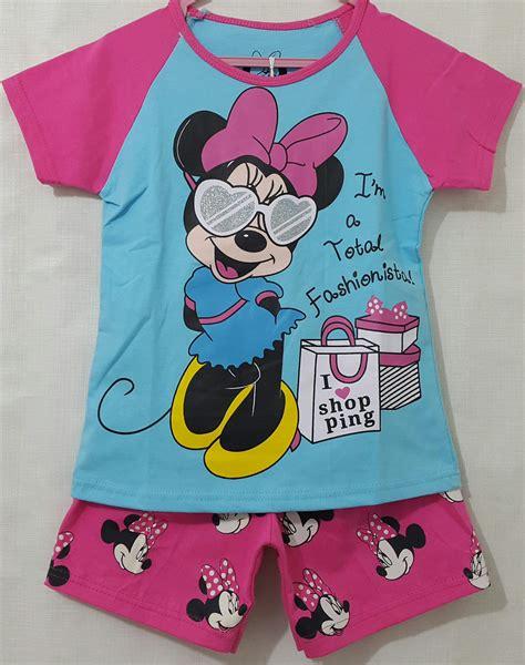 Baju Setelan Stelan Anak Import Minnie Mouse Murah setelan anak minnie mouse raglan biru pink 1 6 grosir