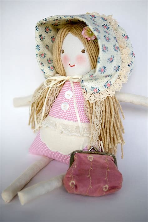 Handmade Cloth Dolls - handmade cloth doll waldorf rag doll vintage lace florence
