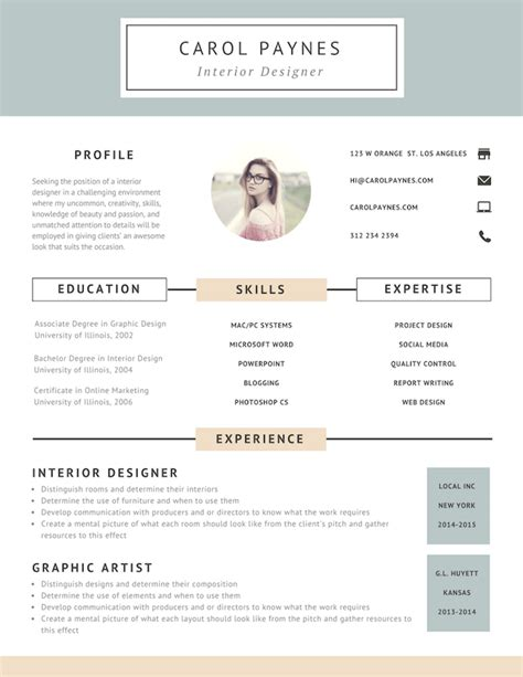 Creative Online Resume by Free Online Resume Maker Canva