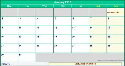 Printable Calendar 2017 South Africa | january 2017 south africa calendar with holidays for
