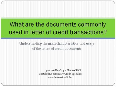 Credit Letter Types Letter Of Credit Documents Presentation 1 Lc Worldwide International Letter Of Credit