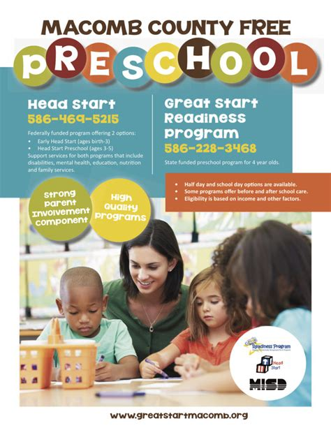 template for flyer free free preschool in macomb county great start