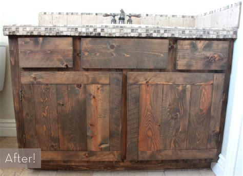 before after a rustic diy oak vanity makeover