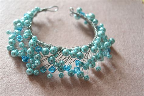 how to make a beaded bracelet with wire easy tutorial on pearl and wire wrapped bracelet