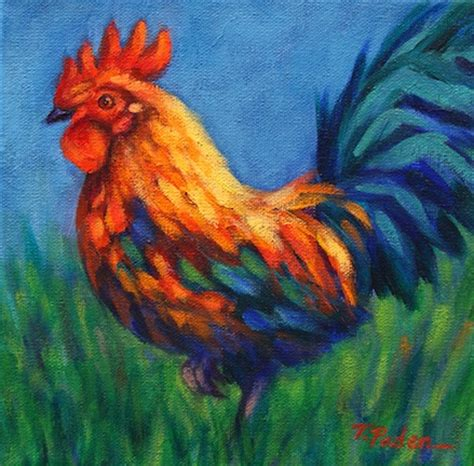 california artwork rooster painting in vibrant colors by theresa paden