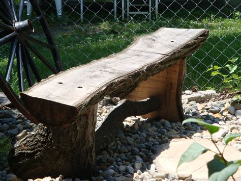 outdoor log bench rustic oak log garden bench by bobo lumberjocks com