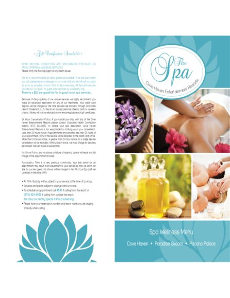 spa menu template standard spa menu template free