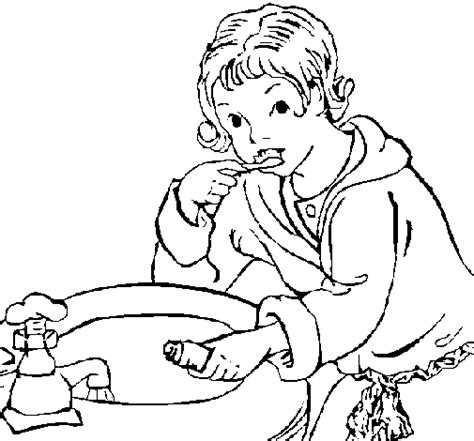 Colored Page Little Boy Brushing His Teeth Painted By Duhaa Teeth Brushing Coloring Pages