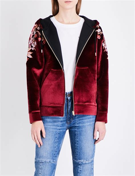 Embroidered Velvet Hoodie lyst sandro floral embroidered velvet hoody in