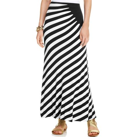 eci ruched striped maxi skirt in white black white lyst