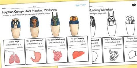 How To Make A Canopic Jar Out Of Paper - canopic jars matching organs worksheet canopic jars