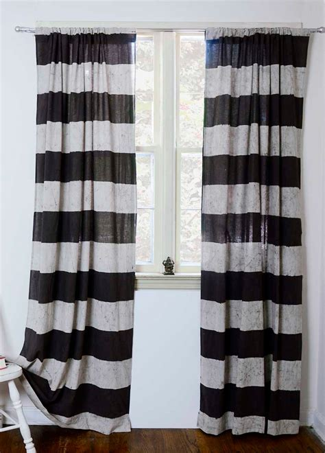 horizontal stripe drapes horizontal stripe curtains hand print natural dyes by ichcha
