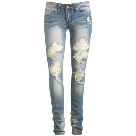ripped skinny jeans polyvore heavy destruction skinny jean wet seal polyvore