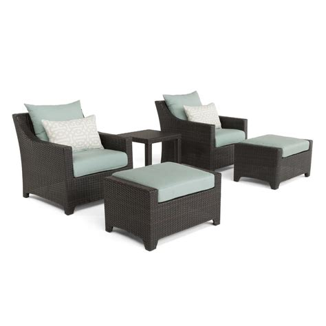 patio chair and ottoman set rst brands deco 5 piece all weather wicker patio club